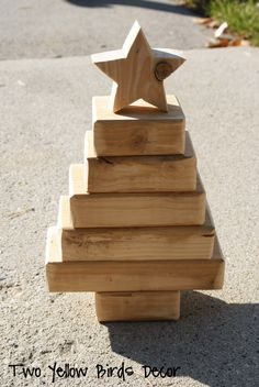 Christmas Tree made out of 2x4 - I feel like this is how Envision would decorate for christmas...