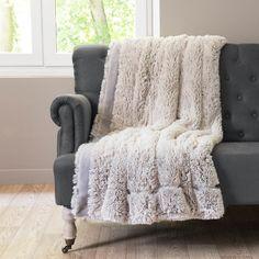 Fluffy deken grijsbruin