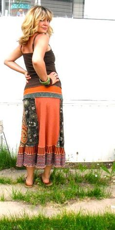 Love this skirt made from upcycled t-shirts. <3