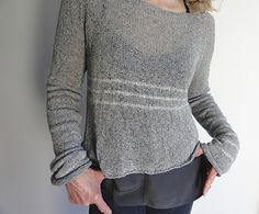 Cloud Stripe Sweater by Judy Brien knit in 2ply lace weight yarn, top down, seamless and in the round. Pattern available via Ravelry $6.00 AUS