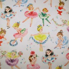 ♡ Pastel soft grunge aesthetic ♡ ☹☻ Ballerina Girls - Vintage Wrapping Paper - Would be so pretty framed in a little girls' room.