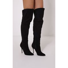 Adiah Black Lace Up Detail Over The Knee High Boots ($52) ❤ liked on Polyvore featuring shoes, boots, black, black knee high stiletto boots, black lace up boots, black stilettos, pointed over the knee boots and knee high boots