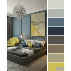 living room color scheme ideas Bedroom colour schemes mustard living rooms ideas for 2019 Room Paint Colors, Paint Colors For Living Room, Bedroom Colors, Living Room Decor, Bedroom Decor, Yellow Gray Bedroom, Living Room Color Schemes, Colour Schemes, Color Palettes