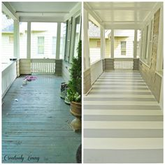 Striped flooring on a porch adds so much character! See project details here.