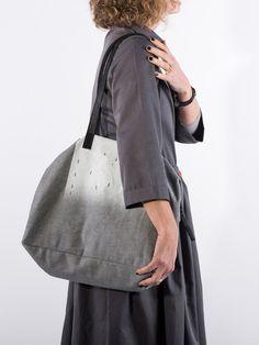 Grey cotton bag gray sac shoulder bag everyday by ANKAtextileBags