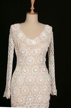 Hand Crocheted Crochet Wedding Dress Bridal Gown Beach Weddings Soft White, via Etsy.