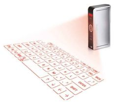 A laser projection keyboard to type on-the-go.