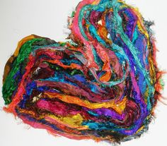 Recycled Sari Silk Ribbon Yarn multi 65 yards  free by JuliaLCraft, $11.00
