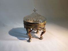 Vintage Silverplated Trinket Box Cherubs Holding it up as Legs A Bit Corroded