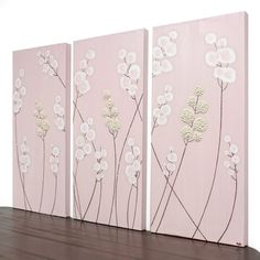 Pink Nursery Wall Art - Textured Painting - Pink and Brown Flower Decor - 32X20 Medium Triptych Canvas Art - MADE TO ORDER
