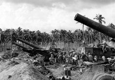 US 203 mm howitzer battery M Island of Leyte, Philippines. Leyte, Ww2, World War, Philippines, Island, Theater, German, World War Two, Military Gear