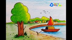 How to draw boat in lake/step by step/very easy https:/ Love Drawings, Colorful Drawings, Animal Drawings, Easy Drawings, Pencil Shading, Color Pencil Art, Scenery Drawing For Kids, Type Illustration, Art Illustrations