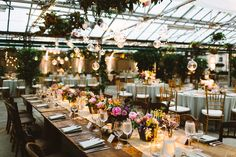 Farm Table & Mix Match Chairs at Philadelphia Horticulture Center Wedding :: Flowers by Fresh Design Flora * Events :: Furniture by Magpie Vintage :: Photography by Pat Furey :: Planning by Kyle Michelle Weddings ::