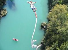 Bungee Jumping off a bridge above water. Another thing on my bucket list. Bungee Jumping, Base Jumping, Before I Die, Extreme Sports, Adventure Is Out There, Slovenia, Rock Climbing, Oh The Places You'll Go, Outdoor Activities