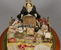 Early Wooden Peddler Doll with lots of Goodies.