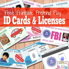 Free Printable Licenses and ID Cards For Kids. So fun for pretend play.