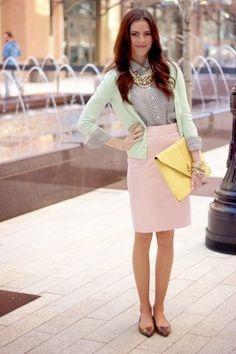 Mint top and pink color skirt.. go cool