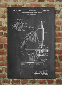 Antique Microscope Patent Poster, Pharmacy Gift, Science Decor, Biology Teacher, Technology Art, Chemistry Gift, Science Teacher Gift, PP64 by PatentPrints on Etsy https://www.etsy.com/listing/209399378/antique-microscope-patent-poster