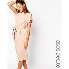 ASOS PETITE Belted Dress with Split Cap Sleeve and Pencil Skirt ($77) ❤ liked on Polyvore featuring dresses, nude, white pencil dress, reversible dress, waist belt, white dress and pencil dress
