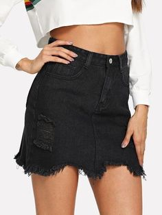 Swans Style is the top online fashion store for women. Shop sexy club dresses, jeans, shoes, bodysuits, skirts and more. Ripped Denim Skirts, Demin Skirt, Black Denim Shorts, Lace Shorts, Hoodies For Sale, Denim Shop, Faux Leather Pants, Body Con Skirt, Mini Skirts