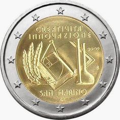 euro: European Year of Creativity and Innovation.Country: San Marino Mintage year: 2009 Issue date: Face value: 2 euro Diameter: mm Weight: g Alloy: Bimetal: CuNi, nordic gold Quality: Proof, BU, UNC Mintage: pc Numismatic Coins, Money Notes, Euro Coins, Gold Money, Gold And Silver Coins, Commemorative Coins, Gold Bullion, World Coins, Creativity And Innovation