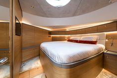 Luxury yacht interior design bedroom of the Zeelander Luxury Yacht Interior, Luxury Yachts, Guest Cabin, Basement Bedrooms, Super Yachts, Design Bedroom, Master Suite, Bunk Beds, Dream Cars