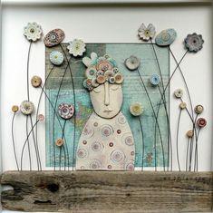 Risultati immagini per shirley vauvelle Ceramic Wall Art, Ceramic Clay, Ceramic Pottery, Pottery Art, Clay Projects, Clay Crafts, Keramik Design, Sculptures Céramiques, Clay Tiles