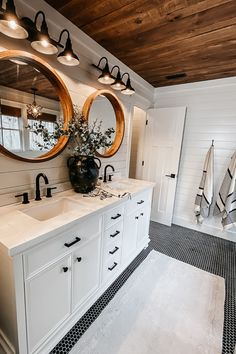 Beautiful shiplap bathroom in a modern farmhouse. Here's our completed bathroom renovation plus we answer all your questions about whether or not shiplap in a bathroom is a good idea. House Bathroom, Home, Home Remodeling, Shiplap Bathroom, House Interior, Bathroom Interior, Bathrooms Remodel, Bathroom Decor, Bathroom Renovation