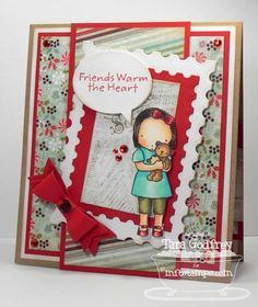 I made this card with Pure Innocence Bear Hugs with the Postage Stamp STAX Die-namics  and the Dainty Bow Die-namics.