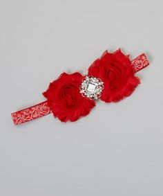 Take a look at this Red Scroll Rosette Headband by Charlotte Rose Couture on #zulily today!