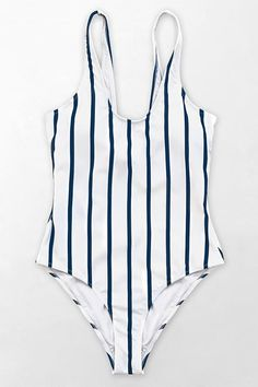 870b5ab10d Navy and White Stripe Scoop One-Piece Swimsuit Swimwear Cover Ups, Cute  Swimsuits,