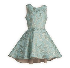 Aqua and Gold Tween Party Dress Beautiful aqua and shimmering gold swirl pattern combine together to create the perfect party dress. Waisted dress in poly brocade with a full swing s Tween Party Dresses, Girls Special Occasion Dresses, Dresses For Tweens, Holiday Dresses, Girls Dresses, Christmas Dresses, Tween Fashion, Fashion Outfits, Cotillion Dresses