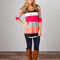 Ladies Spring Stripe Half-Sleeve Casual Top S-XL 2 Colors-Loluxe