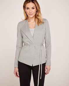 Belted Ponte Blazer The Curated Closet, Hooded Jacket, Style Inspiration, Belt, Blazer, Zip, Stylish, Blouse, Jackets