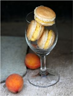 Vanilla macarons sandwiched with a home made low fat peach & cream ice cream.