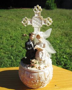 Vintage Wedding Cake Topper with Bride and by VintageJewelryNfinds, $18.00