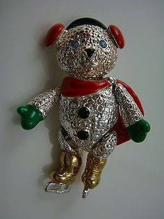 Vintage Napier Christmas Jointed Articulated Ice Skating Teddy Bear Pin.
