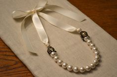 Nell: Vintage inspired Ivory Pearls & Ivory Satin Ribbon Necklace with Antique gold tulips -  for Brides or Bridesmaids