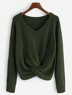 V-neckline Twist Front Chunky Sweater