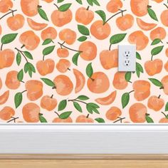 peaches on pale pink custom wallpaper by jaymehennel for sale on Spoonflower Laundry Room Wallpaper, Kitchen Wallpaper, Nursery Wallpaper, Print Wallpaper, Home Wallpaper, Custom Wallpaper, Pink Wallpaper Roll, Accent Wallpaper, Classic Wallpaper
