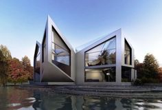 D*Haus designs a house and range of furnishings that transform from a perfect square to an equilateral triangle (architecture, design, contemporary architecture, mathematical formula) Architecture Résidentielle, Amazing Architecture, Contemporary Architecture, Architecture Wallpaper, Contemporary Design, Exterior Design, Interior And Exterior, Cabin In The Woods, Unusual Homes