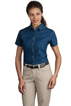Port  Company Ladies Short Sleeve Value Denim Shirt3XL Ink Blue LSP11 >>> To view further for this item, visit the image link.
