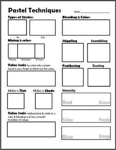 dry pastel techniques worksheet lesson plan is part of Art handouts - Dry Pastel Techniques Worksheet & Lesson Plan artInspiration Pastel Middle School Art, Art School, High School, School Ideas, Drawing Lessons, Art Lessons, Programme D'art, Documents D'art, Oil Pastel Art