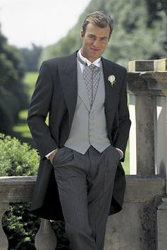 I think he ordered something similar to this, but with a striped ascot. Morning Coat, Morning Dress, Best Suits For Men, Cool Suits, Men's Suits, Mens Fashion Suits, Fashion Pants, Black Tie Formal, Men Formal