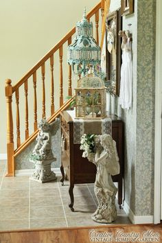 Creative Country Mom's: My Vintage Style Front Entry and Home Office