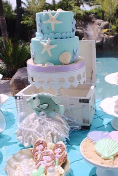 What a gorgeous mermaid party! See more party planning ideas at CatchMyParty.com!