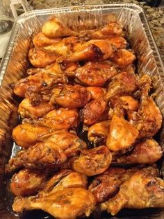 """Caramelized Baked Chicken Legs Wings (Another pinner wrote: """"…used maple syrup instead of honey. baked at 400 x 30 minutes then reduced to 325 for 15 min or so."""") More from my site Spicy Hot Chicken Legs Chicken Drumstick Recipes, Baked Chicken Recipes, Turkey Recipes, Dinner Recipes, Oven Baked Chicken Wings, Chicken Drumsticks Oven, Chicken Legs In Oven, Marinated Chicken Wings, Sticky Chicken"""