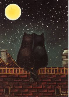 Vintage Postcard, Luka Basic, Anna Hollerer - Two Black Cats Tails Entwined Roof I Love Cats, Crazy Cats, Cute Cats, Black Cat Art, Black Cats, Image Chat, Kinds Of Cats, Here Kitty Kitty, Cat Drawing