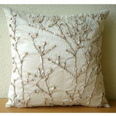 Jute Willow - Throw Pillow Covers - 16x16 Inches Silk Pillow Cover with Jute Embroidery