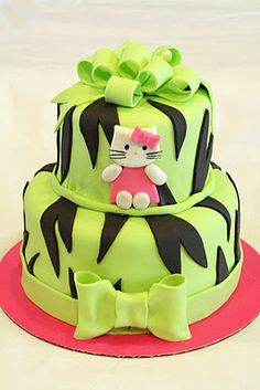 Lime and Zebra Hello Kitty Cake